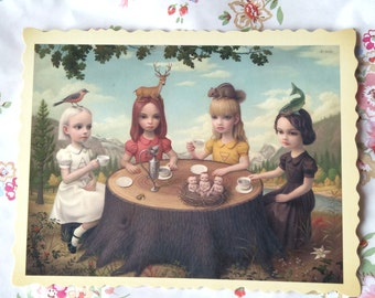 An original postcard from Mark Ryden's Tree Show ' Allegory of the Four Elements '