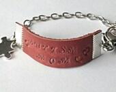 Autism awareness  bracelet, autism jewelry,  bracelet, leather stamped, adjustable, puzzle bracelet, autism charm, autism gifts, autism mom.