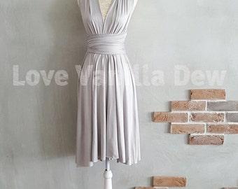 Bridesmaid Dress Infinity Dress Straight Hem Light Grey Knee Length Wrap Convertible Dress Wedding Dress