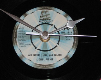 "Lionel Richie all night long  7"" vinyl record clock"