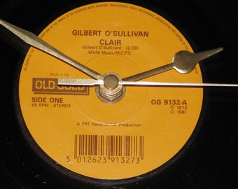 "Gilbert O'Sullivan Clair  7"" vinyl record clock"