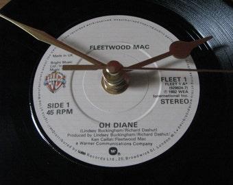 """Fleetwood Mac oh diane  7"""" vinyl record clock"""
