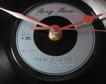 "Roxy Music the same old scene  7"" vinyl record clock"
