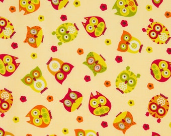 Alice Kennedy OOP Owl Fabric for Timeless Treasures - Apple Collection - Tossed Owls apple-c5707 in Cream - One Yard