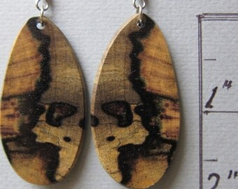 Unique Earrings Black and White Ebony Exotic Wood Drop Earrings ExoticwoodJewelryAnd Ecofriendly