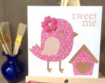 Tweet Me, bird, wall decor, art