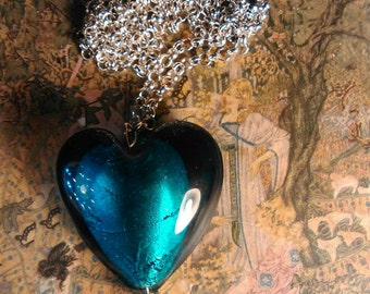 Turquoise glass heart necklace