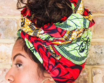 African Green Red Print head wrap | Turban Wax print Head wrap | Ankara headscarf | African wax print Headband | Ladies Scarf | Print 1
