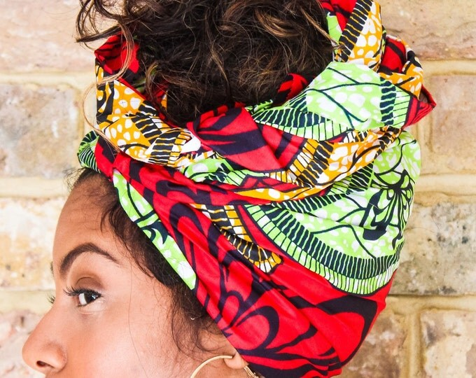 Featured listing image: African Green Red Print head wrap | Turban Wax print Head wrap | Ankara headscarf | African wax print Headband | Ladies Scarf | Print 1