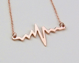 Heartbeat Necklace,Beating Heart Necklace,Heart Line Necklace,Rose Gold Heartbeat Necklace,Heart Beating Pulse,Personalized Jewelry
