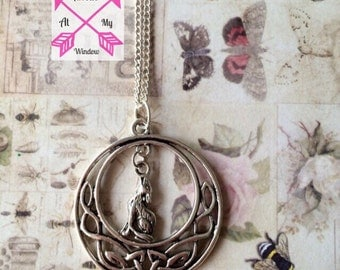 Celtic knot and wolf pendant, Celtic Knot pendant, Celtic knotwork circle and wolf, Howling wolf pendant, Howling Wolf necklace,