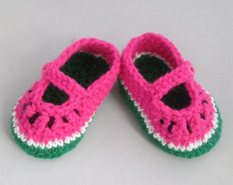 Watermelon Baby Handmade Crocheted Mary Jane Style Shoes/ Booties/ Baby Shower Gift/New Baby Gift