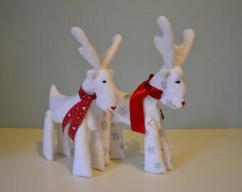 Reindeer doll, Christmas gift, Christmas stuffed reindeer, white silver