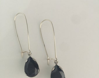 Sterling Silver Swarovski Pear Shape Drop Crystal Earrings
