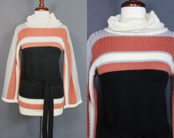 70's Earth Tone Striped Turtleneck Belted Sweater