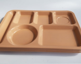 Vintage Salmon Colored Melamine Old School Lunch Trays by Arrowhead