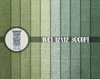 Digital Scrapbooking PAPER PACK Green Burlap instant DOWNLOAD olive moss St. Patricks Irish rustic papers for Papercrafts Cards Backgrounds