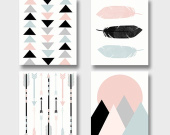 Modern Art Print Set   Printable Art Set Of 4 Prints   Boho Baby Nursery Art