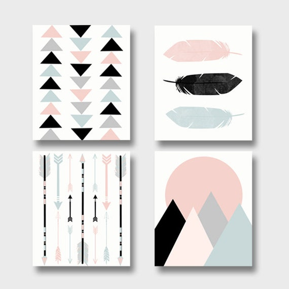Modern art print set printable art set of 4 prints boho for Wall art prints