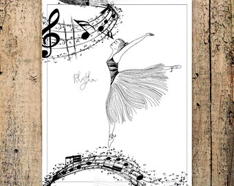 RHYTHM Musical Coloring Page, ballerina, music staff, treble clef, words, hand drawn, zen art, affirmation card, printable coloring therapy