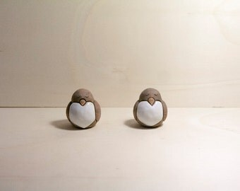 Set 2 ceramic Birds ornament, 2 birds home decor, white and Brown.
