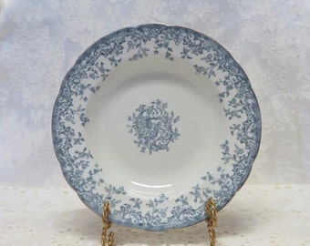 Antique French Blue Transferware Soup Bowls/ 19th Century China/ Bordeaux/ Blue and White Dishes/ Ironstone/ Set of 11