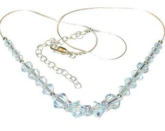 Pale LIGHT AZORE BLUE Crystal Necklace Swarovski Elements Sterling Silver