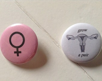 Girl Power Pinback Button Set of 2