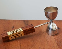 Vintage Barware Double Jigger, Metal, with Wood Handle and gold band - Mid Century Modern Bar Essentials and Accessories