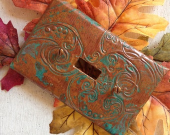 Custom copper switch plate cover, embossed, aged blue/ green patina or antiqued