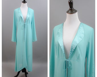 Vintage mint green dressing gown, sequins, S/M