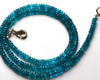 50.00  Carets 16 Inch Strand, Super Finest-Quality- Neon BLUE Apatite Micro Faceted Rondelle  Beads Necklace 3 MM size