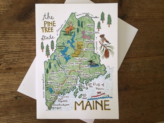 Maine Map Greeting Card, 5 x 7 (A7), blank inside