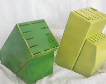 Knife Block, Upcycled, Shabby Chic, Hand Painted, Large Knife Block in John Deere colors