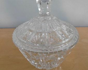 Striking heavy cut glass jewelry vanity box with lid