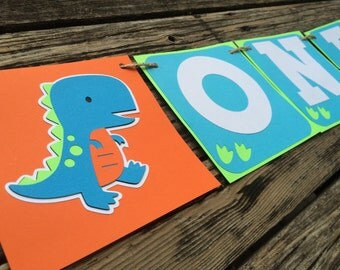 ONE Dinosaur Party High Chair Banner - First Birthday, One Party, Photo Prop, Birthday Party