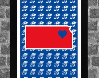 Kansas Jayhawks Heart College Lawrence Sports Print Art 11x17