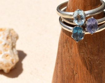 London Blue Topaz Sterling Silver Handmade Stackable Ring
