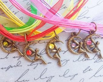 Fairy Necklace, Fairy Jewelry, Faerie Necklace, Fairy Tale Jewelry, Fairy Charm Necklace, Fae Necklace, Ribbon Necklace, Fantasy Necklace
