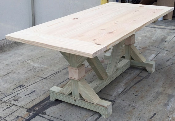 The diy fancy trestle table by onpointwooddesign on etsy for Diy trestle dining table