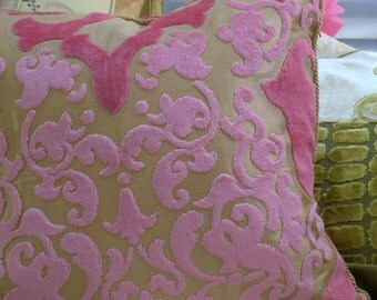 """16""""x16"""" Romantic Style, Quilted, Decorative Pillows, in Pink, Designers Guild Velvet Fabric, By Jane Hall Design"""