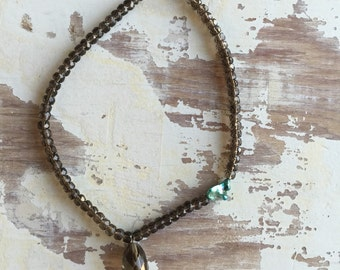 Smokey Quartz & Mother of Pearl Necklace
