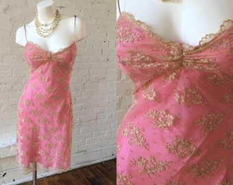 Hugo Buscati Vintage Pink and Tan Lace Overlay Dress