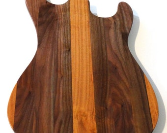 Walnut and Cherry Guitar Shaped Cutting Board