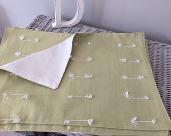 Lime Green linen fabric placemats