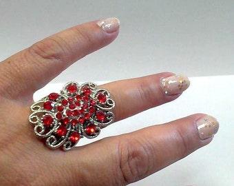 woman ring red rhinestone adjustable steel