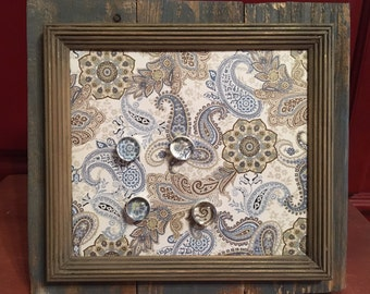 Paisley barnwood blue and khaki and magnetic board/picture frame