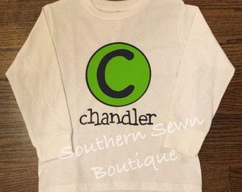 Toddler Long Sleeve Circle Initial & Name T-Shirt