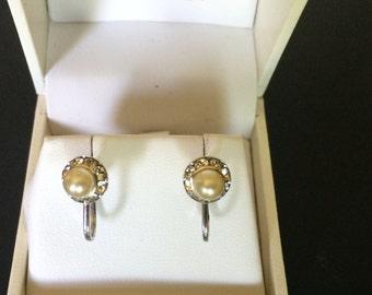Vintage Coro Pearl and Rhinestone Screwback Earrings