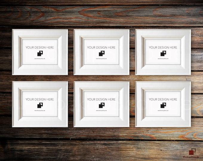 VINTAGE FRAME MOCKUP, Din A5, 6x old white Frame Mockup, Empty Frame Mockup in Vintage Stil, Old Vintage Frame Mockup, Vertical Vintage